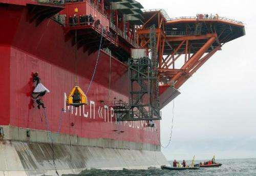 Greenpeace activists board Gazprom''s 'Prirazlomnaya' Arctic oil platform somewhere off Russia north-eastern coast in the Pechor
