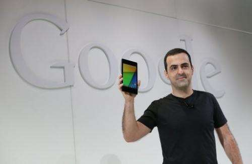 Hugo Barra holds up a new Asus Nexus 7 tablet as he speaks during a special event at in San Francisco on July 24, 2013