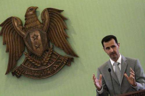 Image taken on October 11, 2010 shows Syrian President Bashar al-Assad at a press conference in Damascus