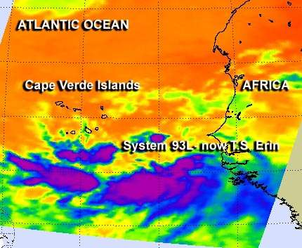 NASA data showed Tropical Storm Erin forming