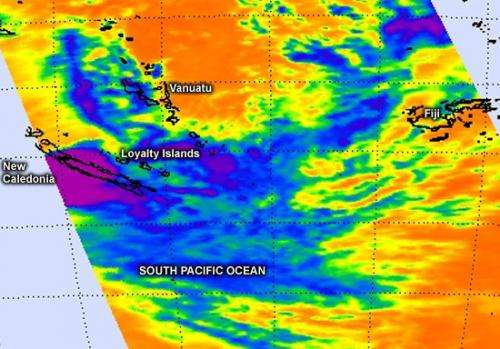 NASA sees a struggling post-Tropical Storm Freda affecting New Caledonia