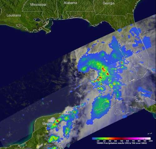 NASA sees heavy rainfall in tropical storm Andrea