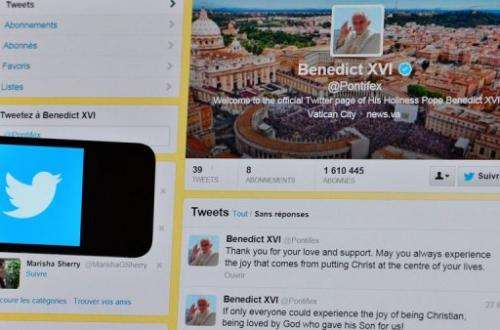 Pope Benedict XVI's last tweet, seen on February 28, 2013 in Rome