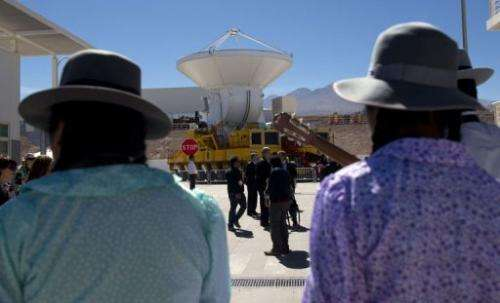 Radio telescope antennas of the ALMA project are seen in San Pedro de Atacama on March 13, 2013