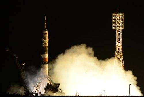 Russia's Soyuz TMA-10M spacecraft blasts off from the Baikonur cosmodrome on September 26, 2013