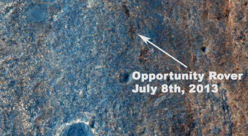 Satellite View Shows Opportunity Mars Rover Still Hard at Work 10 Years On