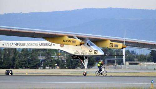 Solar Impulse takes off from Mountain View, California on May 3, 2013