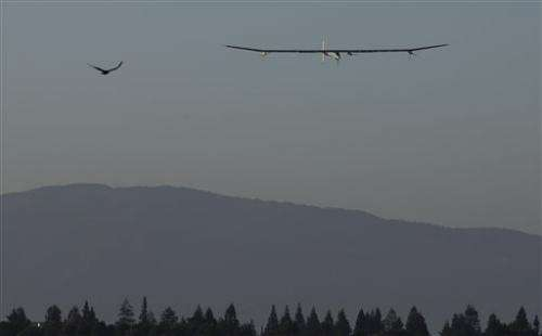 Sun-powered plane completes California test flight