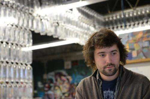 TerraCycle CEO Tom Szaky works in his office at the company's headquarters in Trenton, New Jersey, January 10, 2013