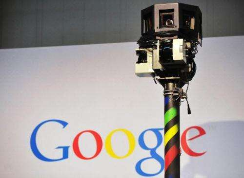 The camera of a street-view car on the Google street view stand at the world's biggest high-tech fair, the CeBIT in the northern