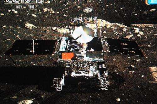 The Jade Rabbit moon rover is seen in a picture taken by a camera on board the Chang'e-3 probe lander on December 15, 2013