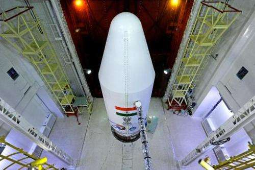 The PSLV-C25 rocket carrying the Mars Orbiter Spacecraft on the launch pad at Sriharikota on October 22, 2013
