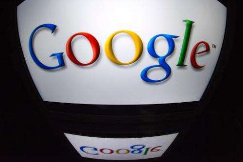"The ""Google"" logo is seen on a screen on December 4, 2012 in Paris"