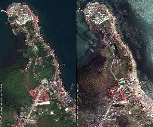 This combination of satellite photos obtained from Astrium Services, shows a view of part of the city of Tacloban in the Philipp