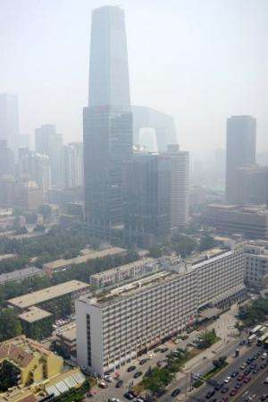 This general view shows a central business district in Beijing on June 3, 2013