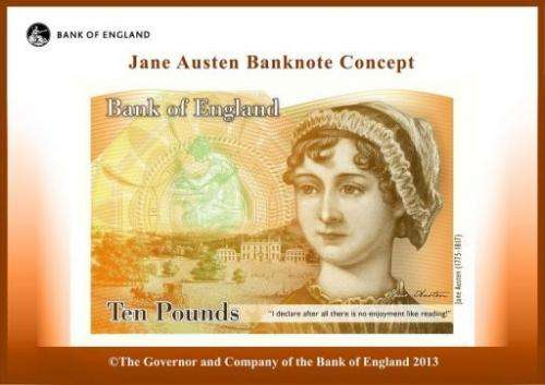 This handout image shows a concept image of a new Ten Pound Note featuring late British author Jane Austen