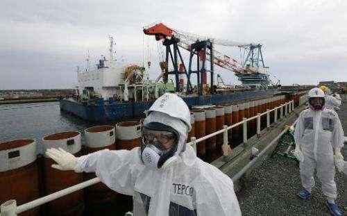 Tokyo Electric Power Co. officials check a wall along the coastline at the Fukushima Dai-ichi nuclear power plant in Okuma, Fuku