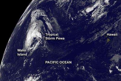 Tropical Storm Pewa passing Wake Island