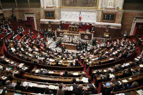 A general view taken at the French National Assembly during a session of questions to the government on December 11, 2013 in Par