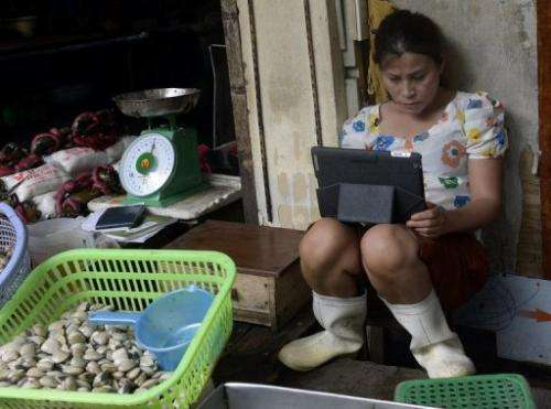 This picture taken on July 26, 2013 shows a seafood vendor using an iPad at her stand in a market in downtown Hanoi