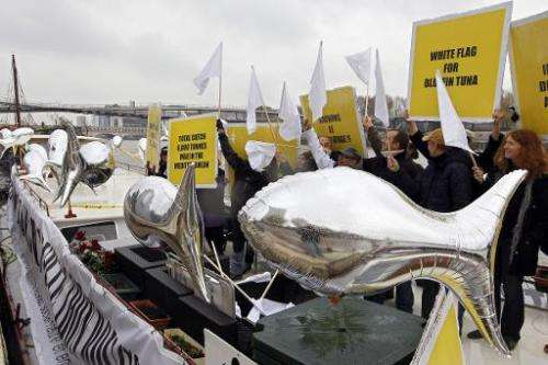 Environmental activists demonstrate on the river Seine in Paris, on November 21, 2010, to protest the International Commission f