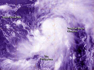 NASA sees Tropical Storm Cimaron pass between Taiwan and the Philippines