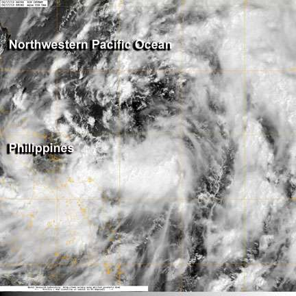 NASA satellite sees developing tropical depression near Philippines