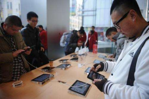 """A customer looks at an """"iPad mini"""" at an Apple store in Shanghai on December 7, 2012"""
