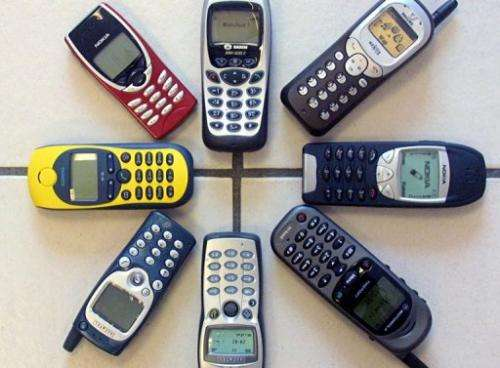 Mobile phones are pictured in France in 2001