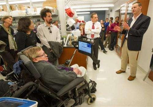 Physicist Stephen Hawking visits LA stem cell lab