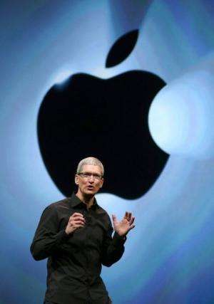 Apple CEO Tim Cook speaks during an event at the Yerba Buena Center for the Arts in California on September 12, 2012