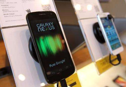 A Samsung Galaxy Nexus phone on display at a Sprint store on April 27, 2012 in San Francisco