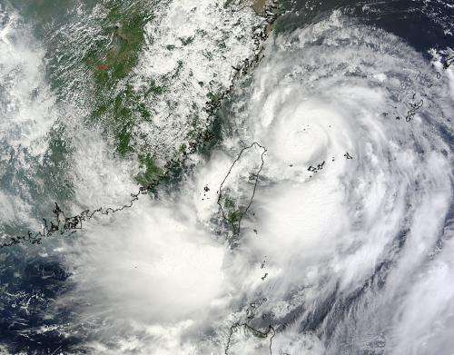 NASA sees Typhoon Trami passing Taiwan for China landfall