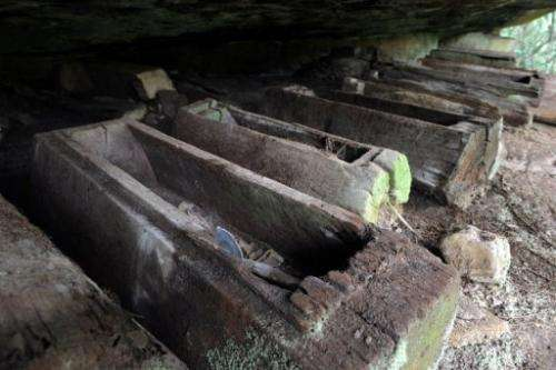 This photo taken on March 24, 2013 shows coffins in a cave at Phnom Pel, Cambodia
