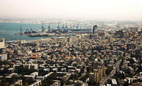 View of the northern Israeli port city of Haifa, which has become known as a second Silicon Valley because of a high concentrati