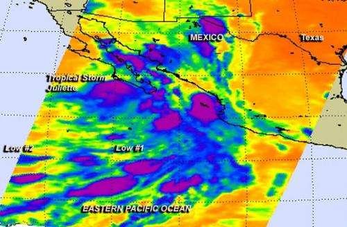 NASA sees Tropical Storm Juliette waning near Mexico's Baja California