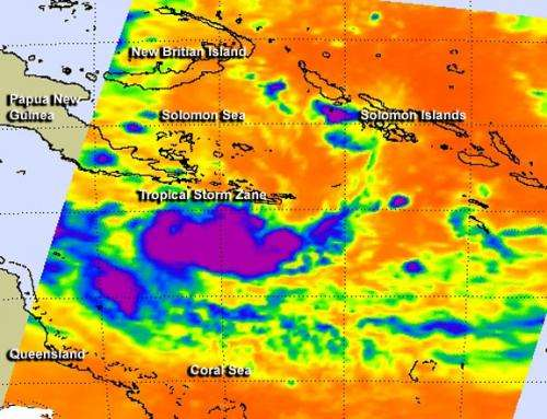 NASA infrared data revealed the birth of Tropical Storm Zane