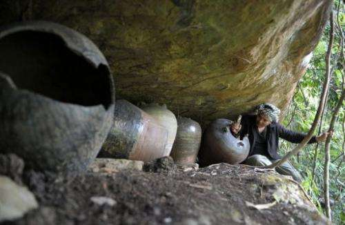Archaeologist Tep Sokha studies bone from a jar in a cave at Phnom Pel, southwest of Phnom Penh, on March 24, 2013