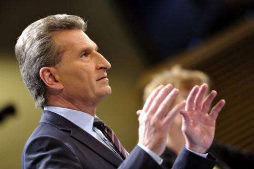 EU commissioner for Energy Gunther Oettinger gives a  press conference on March 27, 2013 in Brussels