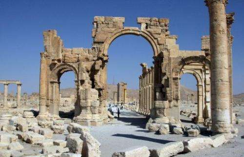 Image taken on June 19, 2010 shows the Roman ruins of Palmyra, northeast of the Syrian capital Damascus
