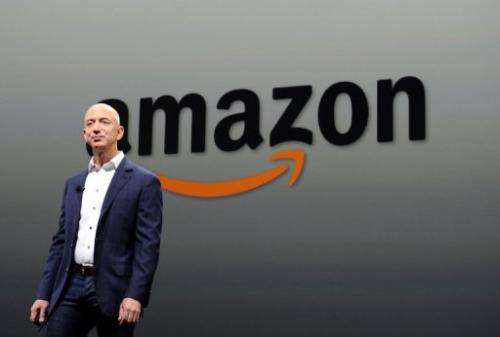 Jeff Bezos, CEO of Amazon, during a press conference in this September 06, 2012 file photo in Santa Monica, California