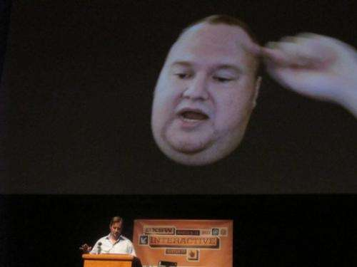 Megaupload founder Kim Dotcom appears on March 11, 2013 via video link in the United States from New Zealand
