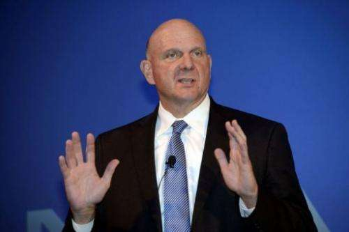 Microsoft CEO Steve Ballmer speaks during a press conference of mobile manufacturer Nokia in Espoo on September 3, 2013