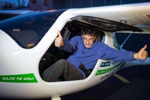 Photo taken on April 22, 2013 shows Matevz Lenarcic posing at Brnik airport prior to his flight
