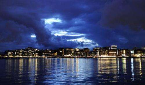 This photo taken on Augut 27, 2010 shows the skyline of Oslo's waterfront and entertainment area