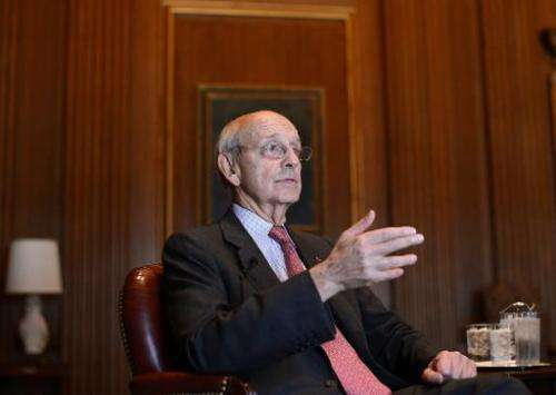 US Supreme Court Justice Stephen Breyer answers a question during an interview at the Supreme Court in Washington, DC, on May 17