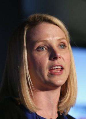 Yahoo CEO Marissa Mayer speaks at a news conference in Times Square on May 20, 2013 in New York City