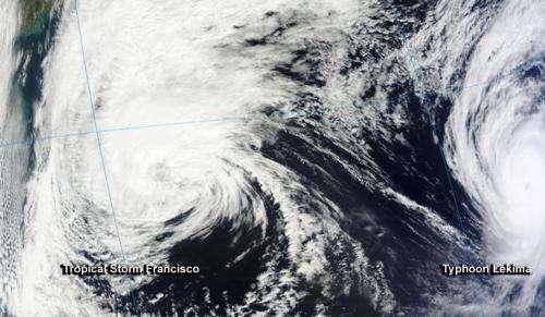 NASA sees Tropical Storm Francisco becoming extra-tropical