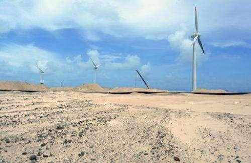 Wind turbines in northeastern Brazil on December 11, 2012