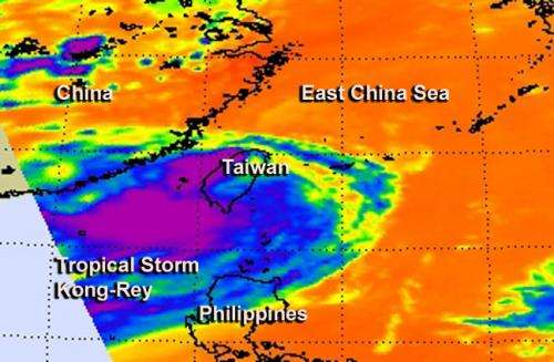 NASA infrared eye sees wind shear affecting Tropical Storm Kong-Rey